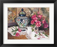 Framed Roses with Temple Jar