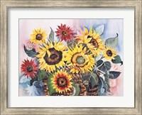 Framed Basket of Sunflowers