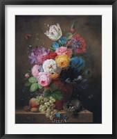 Framed Rich Still Life of Roses