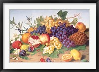 Framed Still Life of Grapes, Pineapple, Figs