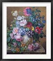 Framed Rich Still Life of Summer Flowers