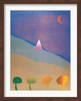 Framed Egypt Blue/One Moon/Four Trees