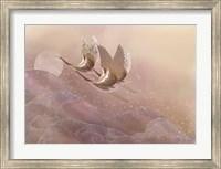 Framed Cranes Over Waves