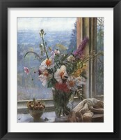 Framed Still Life with Flowers & Chestnuts