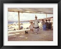 Framed Figures on a Veranda by the Beach