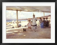 Framed Figures on a Veranda by the Beach