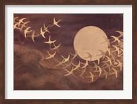 Framed Cranes Over Moon