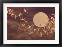 Framed Cranes Over Moon