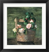 Framed Camellias & Roses in Japanese Vase