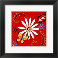 Framed Daisies And Butterflies-Red