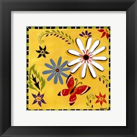 Framed Daisies And Butterflies-Yellow