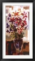 Framed Lilies in Purple Vase