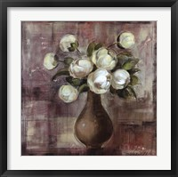 Framed Peonies on White Background