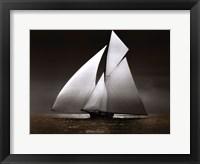 Framed Iverna Yacht at Full Sail,1895