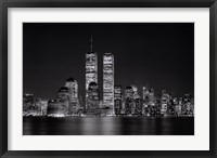 Framed New York, New York, Manhattan at Night