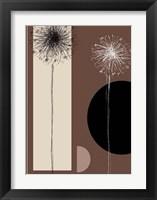 Framed Black and White Dandelions