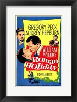 Framed Roman Holiday Gregory Peck & Audrey Hepburn