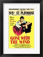 Framed Gone with the Wind Vintage Theater Advertisement Yellow