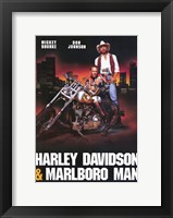 Framed Harley Davidson and Marlboro Man