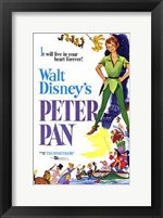Framed Peter Pan it will live in your heart forever