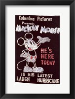 Framed Mickey Mouse - He's Here Today