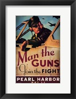 Framed Pearl Harbor Art Deco Man the Guns