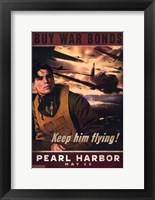 Framed Pearl Harbor Art Deco Buy War Bonds
