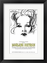 Framed Marlene Dietrich - drawing