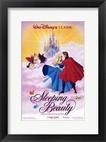 Framed Sleeping Beauty Dancing on Clouds with Prince Charming