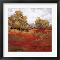 Framed Scarlet Fields I