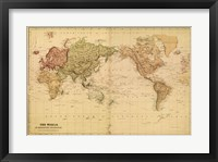 Framed Map of the World, c.1800's (mercator projection)
