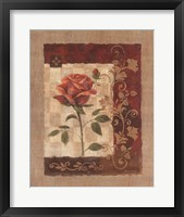 Framed Burlap Tea Rose