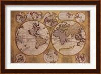 Framed Map - Globe Terrestre