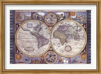 Framed Map - Antique - New Map Of The World