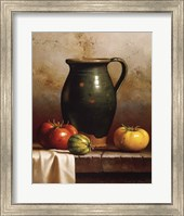 Framed Green Pitcher, Heirlooms & Cloth