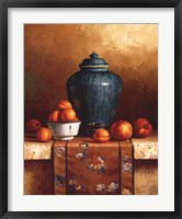 Framed Ginger Jar with Peaches, Apricots & Tapestry