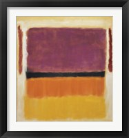 Framed Untitled (Violet, Black, Orange, Yellow on White and Red), 1949