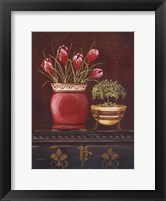 Framed Asian Red Crocus Floral