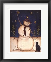 Framed Snowmen with Black Cat