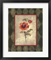 Poppy II W-Green Border Framed Print