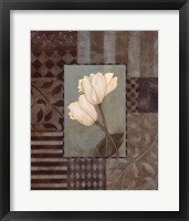 Aqua Tulips W- White Framed Print