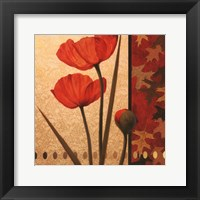 Framed Poppy Red Damasque