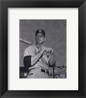 Framed Mickey Mantle- With bat looking towards his right