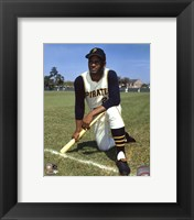 Framed Roberto Clemente - posed baseball