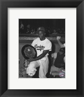 Framed Jackie Robinson - black and white baseball