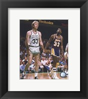 Framed Larry Bird and Magic Johnson On The Court