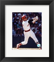 Framed Carlton Fisk -Swinging