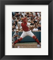 Framed Carlton Fisk - Throwing in catchers gear