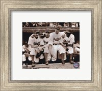 Framed Jackie Robinson - First Day, with Spider Jorgenson, Pee Wee Reese, Ed Stankey