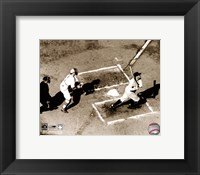 Framed Babe Ruth - Homeplate action, sepia